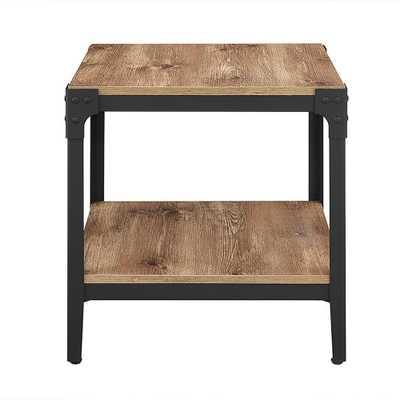 Angle Iron Barnwood End Table (Set of 2) Barnwood Finish - Home Depot