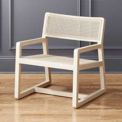 Makan White Wood and Wicker Lounge Chair - CB2