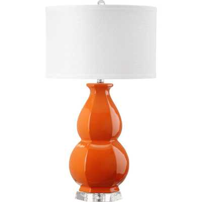Safavieh Juniper 27.5 in. Orange Table Lamp with White Shade - Home Depot