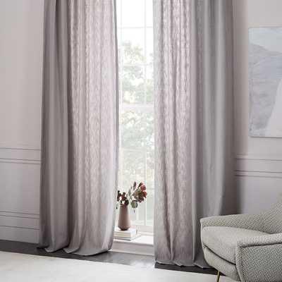 "Textured Cotton Jacquard Curtain - Platinum - 96"" - West Elm"