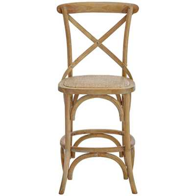 Hyde Cafe 24 in. Ash Grey Counter Stool with Back and Cane Seat - Home Depot