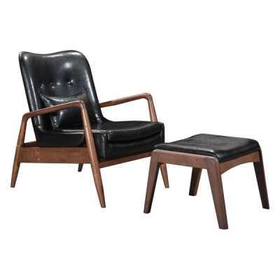 Bully Lounge Chair & Ottoman Black - Zuri Studios