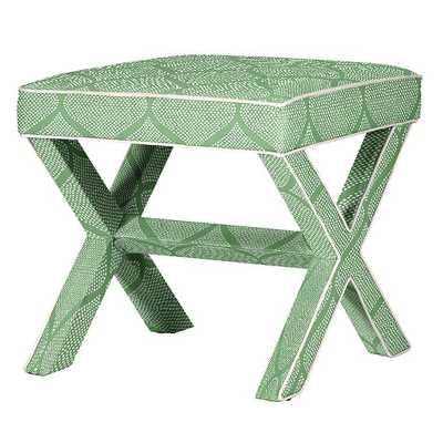 X Bench - Cole Green with Off White Twill Welt - Ballard Designs
