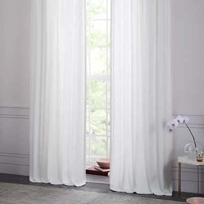 "CottonTextured  Jacquard Curtain - Stone White - 96"" - West Elm"
