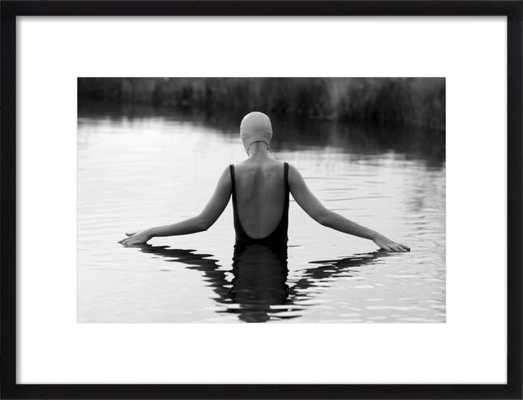 """The Swimmer in a Pond - 28"""" x 20"""", black wood frame with mat - Artfully Walls"""