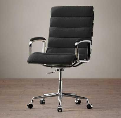 Oviedo Upholstered Desk Chair - Army Duck, Black - RH
