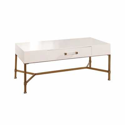 SOPHIE GOLD IRON COFFEE TABLE BLUE - Abbyson Living