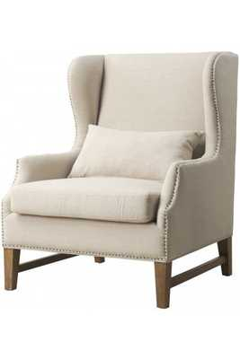 Daphne Beige Linen Wing Chair - Maren Home