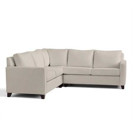 CAMERON SQUARE ARM UPHOLSTERED 3-PIECE L-SHAPED SECTIONAL WITH CORNER - Sunbrella Performance Sahara Weave Oatmeal - Pottery Barn