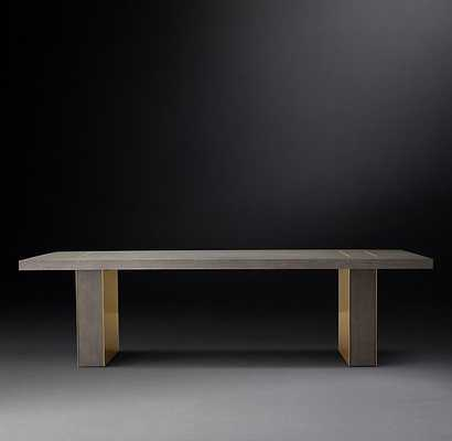 Gage Rectangular Dining Table - Gray Oak Burnished brass - RH Modern