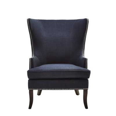 Moore Midnight Blue Fabric Wing Back Accent Chair - Home Depot