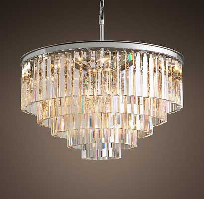 1920S ODEON CLEAR GLASS FRINGE 5-TIER CHANDELIER - RH