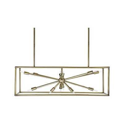 Compass Antique Brass Caged Starburst Chandelier - Crate and Barrel
