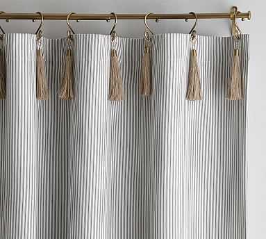 "The Emily & Meritt Ticking Stripe Drape With Hook And Tassel, 50x96"", Black/White - Pottery Barn"