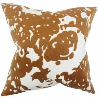 "Auberon Graphic Pillow Brown White - 20"" x 20"" - With Down Insert - Linen & Seam"