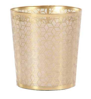 Modern Geometric Lattice Design Round Iron Waste Basket - Wayfair