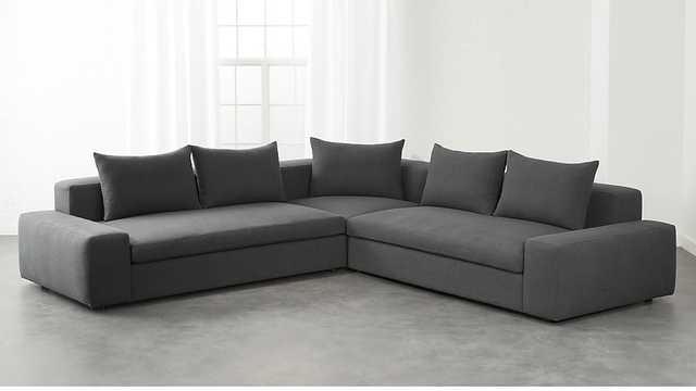 arlo 3-piece iron grey wide arm sectional sofa - CB2