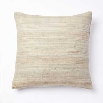"Woven Silk Pillow Cover, 20""x20"", Belgian Flax - West Elm"