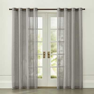 Light Grey Linen Sheer with Grommets - Crate and Barrel