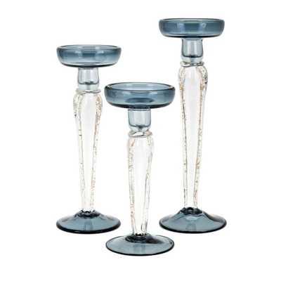 Iris Glass Candleholders - Set of 3 - Mercer Collection