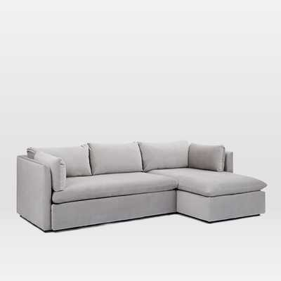 Shelter 2-Piece Chaise Sectional - Dove Gray -Left Arm Sofa Right Arm Chaise - West Elm