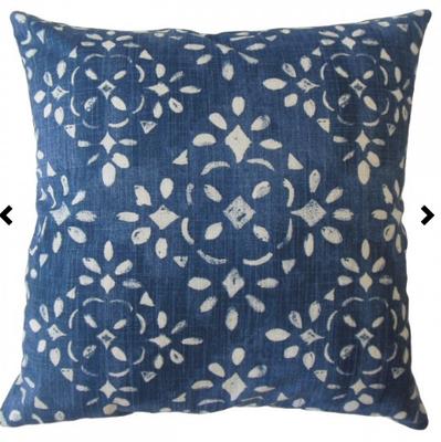 Edyta Ikat Pillow Blue, with down insert - Linen & Seam