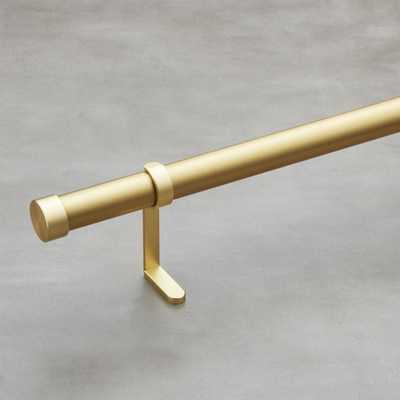"Brushed brass curtain rod set 28""-48""x1.25""dia. - CB2"