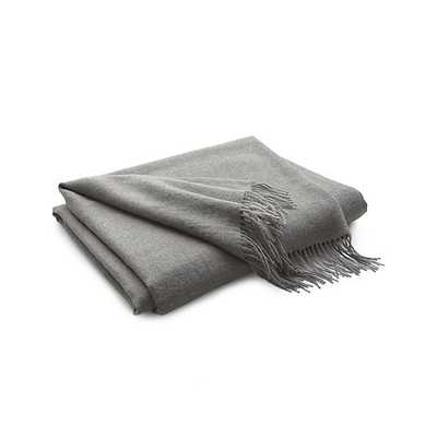 Lima Alpaca Gray Throw Blanket - Crate and Barrel
