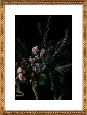 Protea Floral Still Life - 20x28, gold crackle bead wood frame, with mat - Artfully Walls