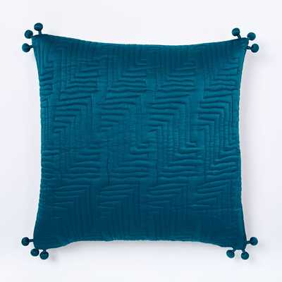 """Washed Silk Quilted 18"""" Pillow Cover, Blue Teal - West Elm"""