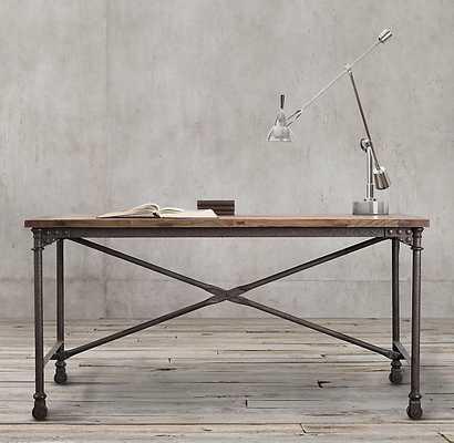 "Flatiron Desk - Reclaimed Natural Elm & Rust Metal, 48""W - RH"