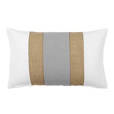 Ballard Designs Linen & Burlap Colorblock Pillow Gray - Ballard Designs