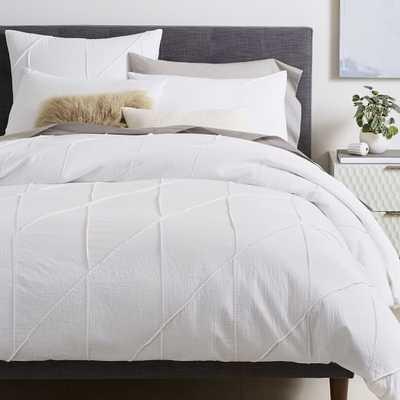 Organic Pleated Grid Duvet Cover, Full/Queen, White - West Elm