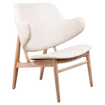 Frazure Midcentury Modern White Oak Lounge Chair - Kathy Kuo Home