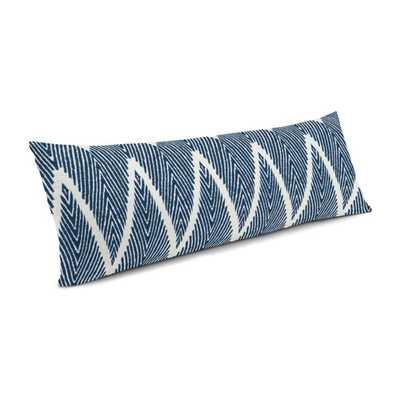 """Large Lumbar Pillow  14"""" x 36"""", Tribal Navy Blue Chevron Large Lumbar Pillow Down Insert - Loom Decor"""