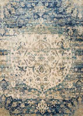 "ANASTASIA Rug BLUE / IVORY 5'-3"" X 7'-8"" - Loma Threads"