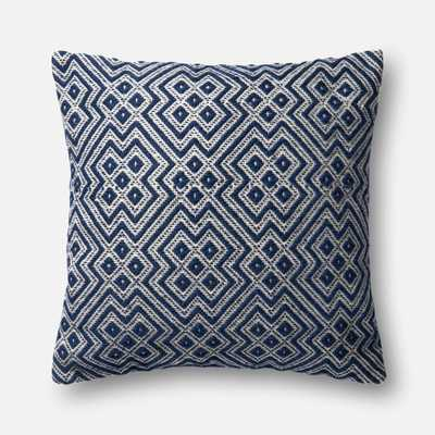 "DSET Pillow NAVY / WHITE 22"" X 22"" Cover w/Down - Loma Threads"