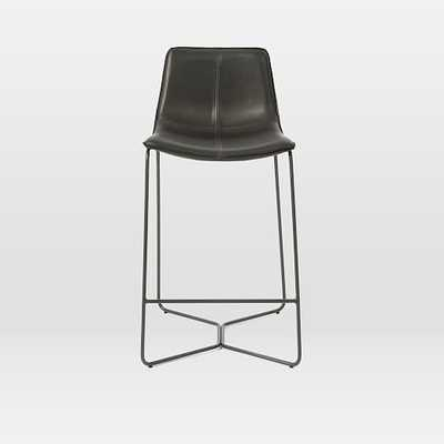 Slope Counter Stool, Leather, Charcoal - West Elm