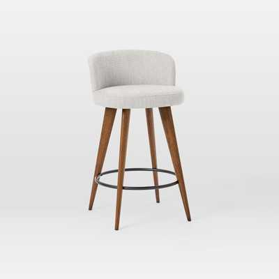 Abrazo Counter Stool, Basket Slub, Feather Gray, Pecan - West Elm
