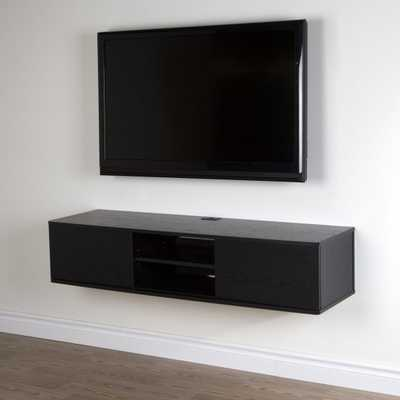 South Shore Agora 57 in. Wall Mounted Media Console - Black Oak - Hayneedle