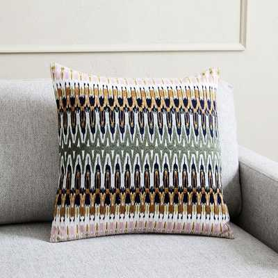 Embroidered Ikat Reflection Pillow Cover - West Elm