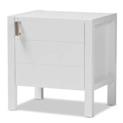 BAXTON STUDIO MANDEL MODERN AND CONTEMPORARY WHITE WOOD NIGHTSTAND - Lark Interiors