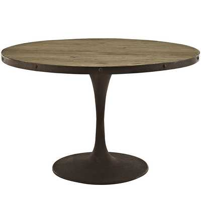 """DRIVE 48"""" ROUND WOOD TOP DINING TABLE IN BROWN - Modway Furniture"""