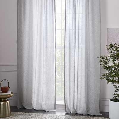 "Semi-Sheer Belgian Flax Linen Melange Curtain - Platinum  - 96"" x 48"" - West Elm"