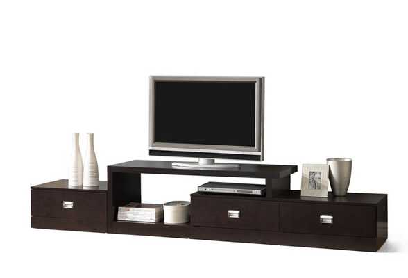 MARCONI BROWN ASYMMETRICAL MODERN TV STAND - 94'' - Lark Interiors