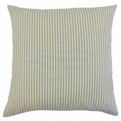 "Ira Stripes Pillow Sage - 22"" x 22"" - Down Insert - Linen & Seam"