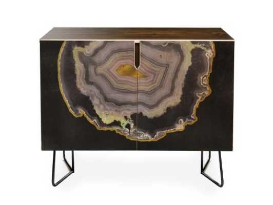 BLACK AND GOLD AGATE Credenza By Emanuela Carratoni - Wander Print Co.