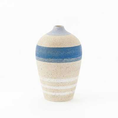 "Striped Vases, Medium, Blue, 8.75"" - West Elm"