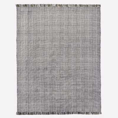 Basketweave Indoor/Outdoor Rug - Black, 9'x 12' - West Elm