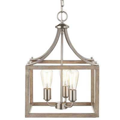Home Decorators Collection Boswell Quarter Collection 3-Light Brushed Nickel Pendant with Painted Weathered Gray Wood Accents - Home Depot